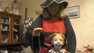 Ben and his mother in fancy dress for Halloween