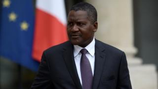 Africa's richest man Aliko Dangote dey comot di Elysee presidential Palace