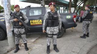 Força Nacional policia as ruas de Fortaleza durante onda de ataques em janeiro de 2019