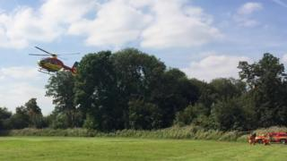 An air ambulance was sent to the crash but the pilot was driven to hospital
