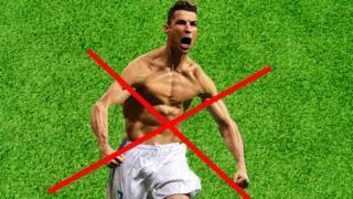 Ronaldo celebrates a goal by taking his shirt off