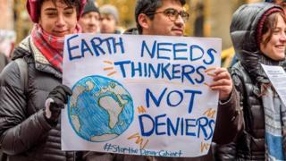 Manifestantes contra mudança climática