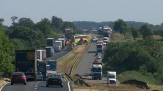 Scene of the crash on the A1 near Colsterworth
