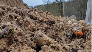 Picture of a mound of sand with lots of rubbish mixed in. In the photo there is broken glass, rusty tines and bottles