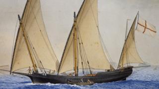 Cenevizlilerin bayrağı eski bir Cenova gemisini betimleyen bir resimde de gözüküyor