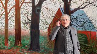 "British artist David Hockney stands by his oil painting ""Bigger Trees Near Warter"""