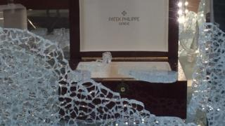 Smashed jewellers window