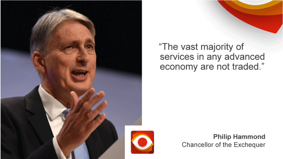 Philip Hammond saying: The vast majority of services in any advanced economy are not traded.