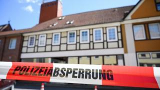 A house is cordoned off in Wittingen, northern Germany, where two bodies were found on May 13, 2019