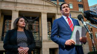 Asstistant US Attorney Danya Atiyeh and US Attorney G. Zachary Terwilliger announce the arrest in Alexandria, Virginia