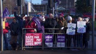 Unison health workers at a picket line at Altnagelvin Hospital in Londonderry