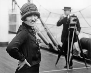 Portrait of Gloria Swanson on board Aquitania in 1925