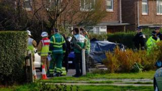 A car where two bodies were found in Fox Crescent, Chelmsford