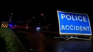 Police sign at A1 crash scene