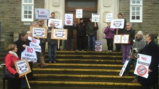 Protest outside the meeting