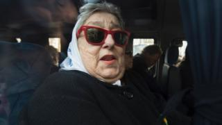 Hebe de Bonafini, leader of the Mothers of Plaza de Mayo human rights organisation, leaves Plaza de Mayo square in Buenos Aires, Argentina, on August 04, 2016