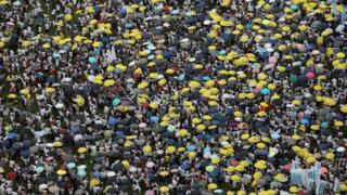 Protesters attend a rally against a controversial extradition law proposal in Hong Kong on June 9, 2019