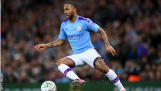 Raheem Sterling playing for Manchester City