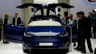 Tesla car at Paris Motor Show