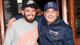 Diego maradona na mwanawe wa nje Diego Junior