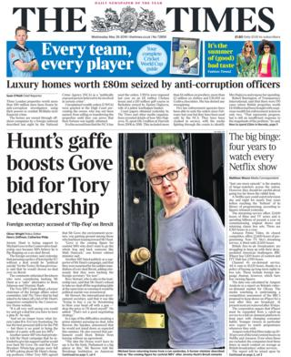 Wednesday's The Times front page