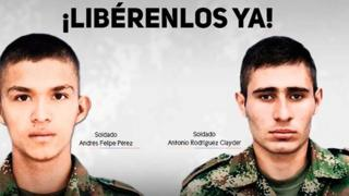 Poster released by the Colombian Army calling for the release of two soldiers kidnapped by the ELN rebel group