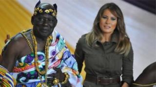 Melania Trump paid a courtesy call on the local chief Osabarimba Kwesi Atta II before visiting the for