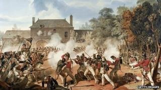 The battle at Hougoumont farm.