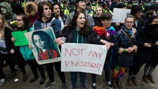 Throngs of protesters took to the streets of Washington on Donald Trump's Inauguration Day
