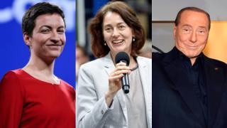 Ska Keller, Katerina Barley and Silvio Berlusconi