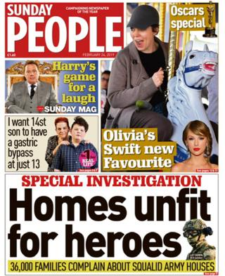 Sunday People front page 24/02/19