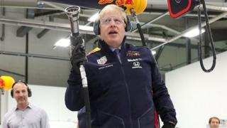 Boris Johnson during a visit to the Red Bull Racing F1 team in Milton Keynes,