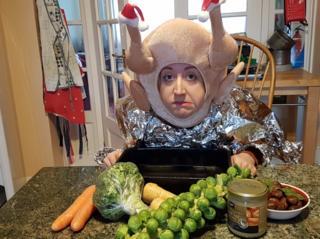 Rhiannon Hulse dressed as a turkey