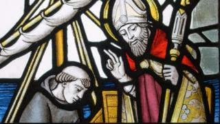 St David on stained glass window