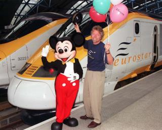 Virgin boss Richard Branson posed with Mickey Mouse