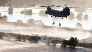 RAF Chinook dropping ballast