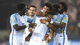 England's forward Dominic Solanke celebrates a goal with teammates