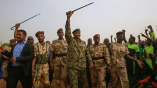 Gen Abdel Fattah al-Burhan, the head of the ruling military council, rallied support in the city of Omdurman on Saturday