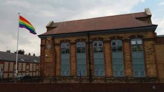 Rainbow flag at Bridlington Police Station