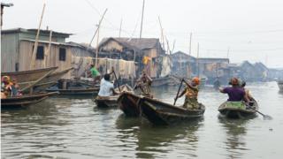 Slum neighborhood Makoko on March 17, 2016 in Lagos