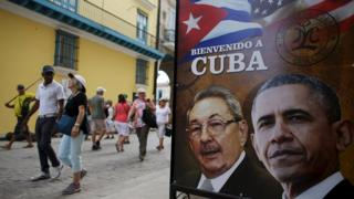 A poster in Cuba showing the two presidents.