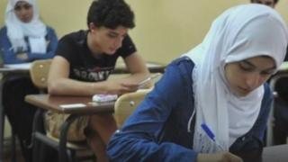 Algerians students sitting the baccalaureat