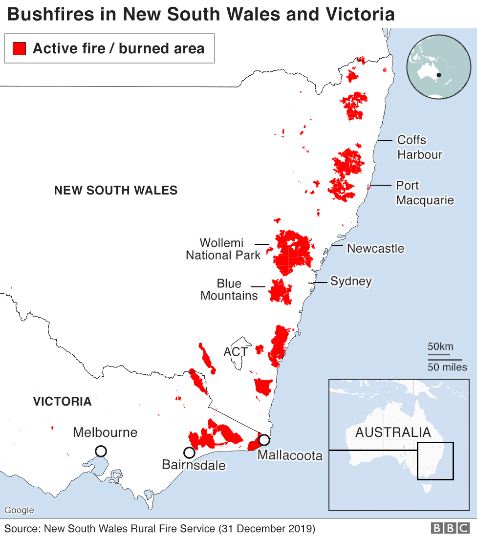 science Map: Active fires and burnt areas, 31 December