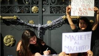 Students of the conservative Universidad Catolica take part in an occupation of the university demanding an end to sexism and gender violence in Santiago, Chile May 25, 2018.