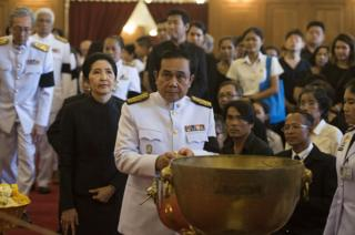 Thai Prime Minister General Prayuth Chan-o-cha attends a royal bathing ceremony at The Grand Palace on October 14, 2016 in Bangkok, Thailand