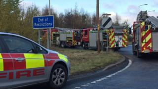 Fire engines at scene of crash