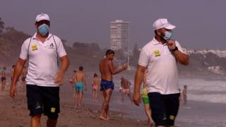 Sergio and Rafa (L) are among 3,000 new beach wardens recruited for the summer season