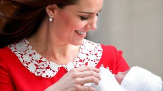 Duchess of Cambridge with newborn Prince Louis
