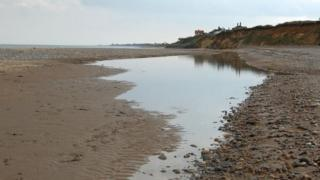 The beach at Thorpeness looking south towards Aldeburgh (stock image)