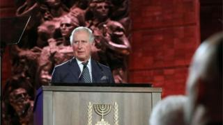 Prince Charles speaks during the Fifth World Holocaust Forum at the Yad Vashem Holocaust memorial museum in Jerusalem, January 23, 2020